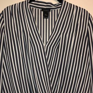 Ann Taylor Factory Tops - Grey and white striped long sleeve wrap blouse